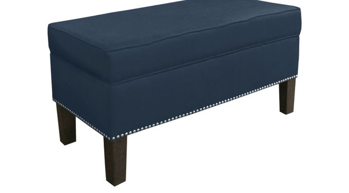 Lucy Lane Navy Storage Bench - Traditional, Linen