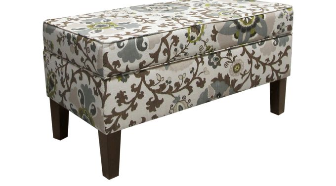 Printer Park Gray Floral Storage Bench - Traditional, Cotton