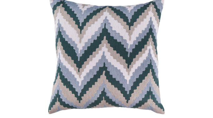 Chevron Beat Blue Accent Pillow - Contemporary