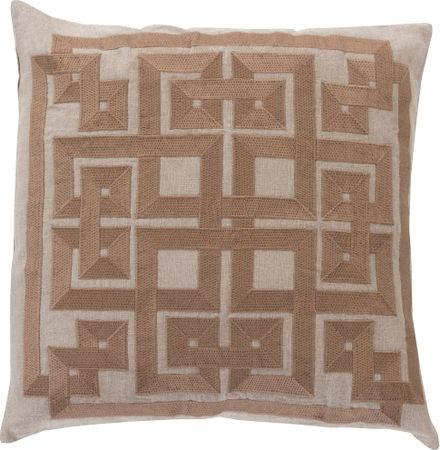 Intersected Geometrics Beige Accent Pillow - Transitional