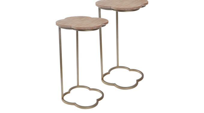 Lille Huy Beige Set of 2 Accent Tables - Contemporary