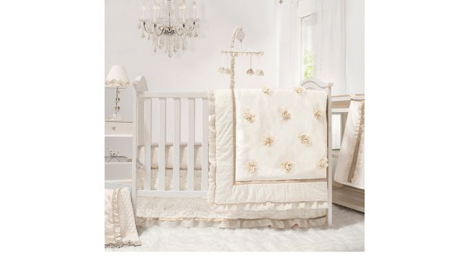 Kiera Gardens Ivory (off-white)  4 Pc Baby Bedding Set