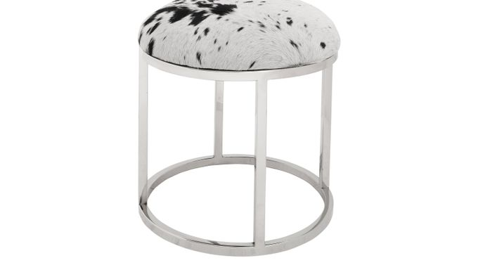 Bronac Round White Accent  Stool - Contemporary