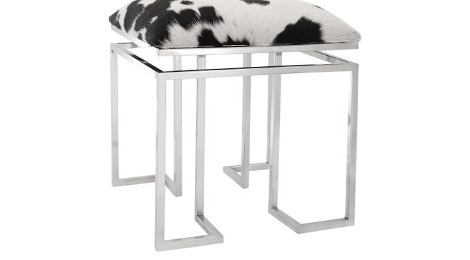 Ruskie Square White Accent Stool - Contemporary