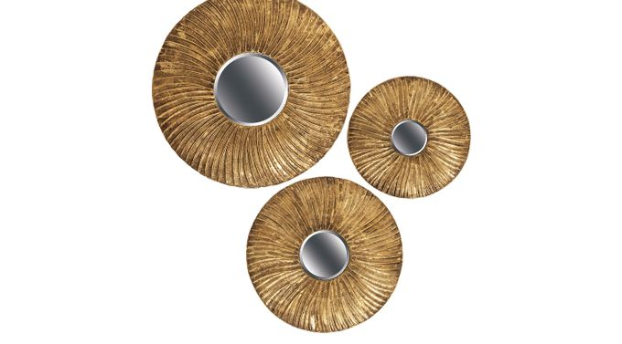 Kazumi Gold Mirrors Set of 3 - Traditional