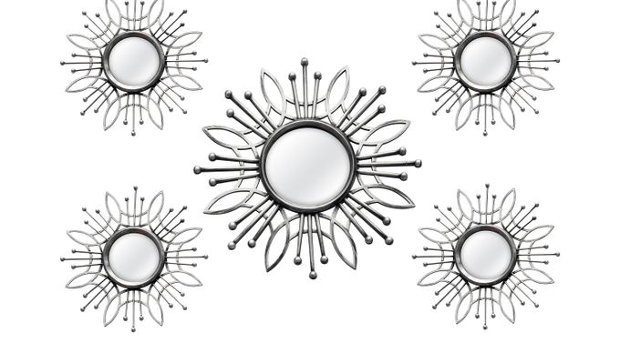 Super Burst Silver Mirrors Set of 5 - Contemporary