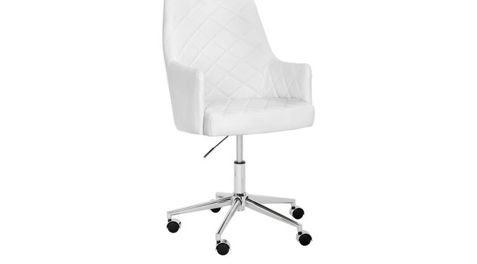 Chase Place White Desk Chair - Transitional
