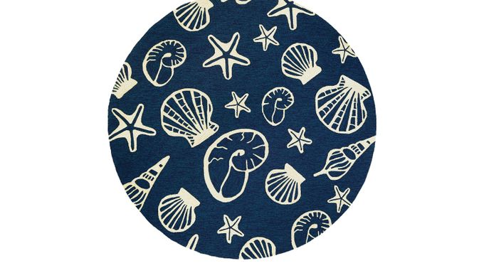 Cardita Blue 7'10 Round Indoor/Outdoor Rug - Casual