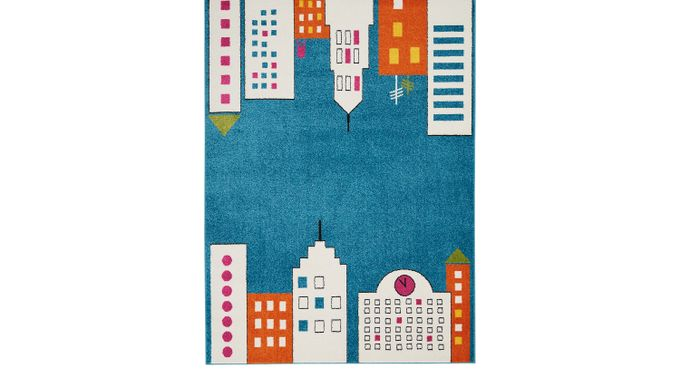 Kids City Limits Teal 5'2 x 7' Rug Polypropylene