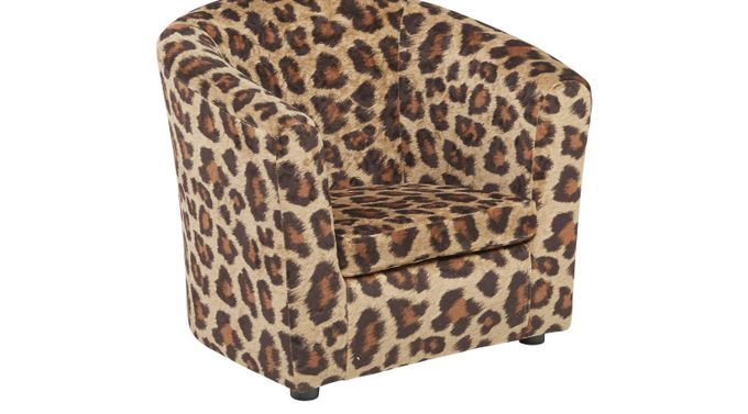 Jordan Brown Leopard Chair - Upholstered, Polyester