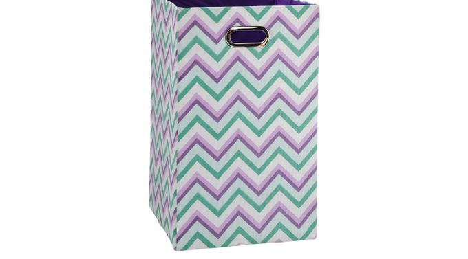 Chevron Vision Purple, Green, and White Tranquil Laundry Bin