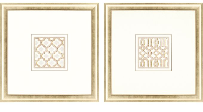 Bayonne White Set of 3 Artwork - Contemporary