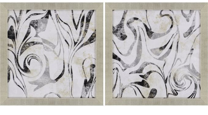 Curves and Swirls Set of 2 Artwork - Contemporary