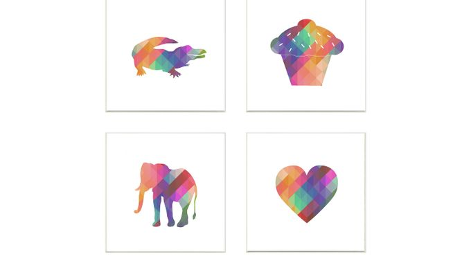 Kids Geometric Rainbow Silhouettes I Set of 4 Artwork
