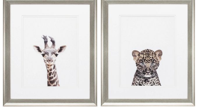 Giraffe Leopard Set of 2 Artwork - Contemporary