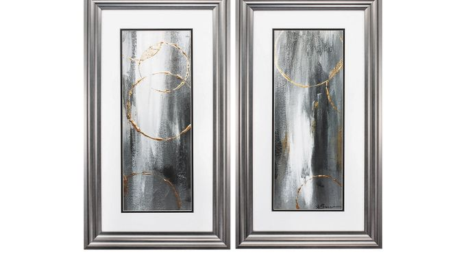 Gray Waterfall Set of 2 Artwork - Contemporary