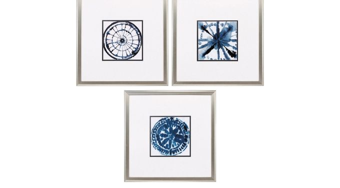 Indigo Accents Set of 3 Artwork - Traditional