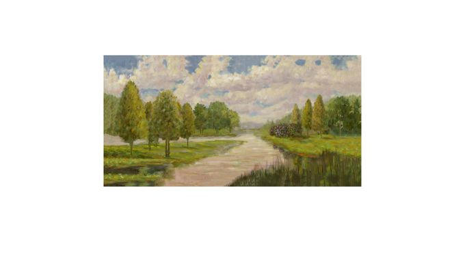 Peaceful Lake 7' Long Canvas Artwork - Traditional