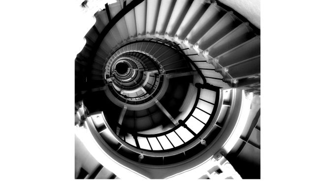 Stairway in Black and White 5' Square Canvas Artwork - Contemporary