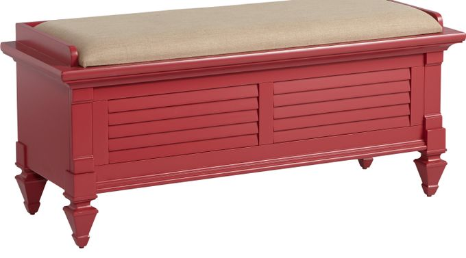 Belmar Red Storage Bench - Traditional