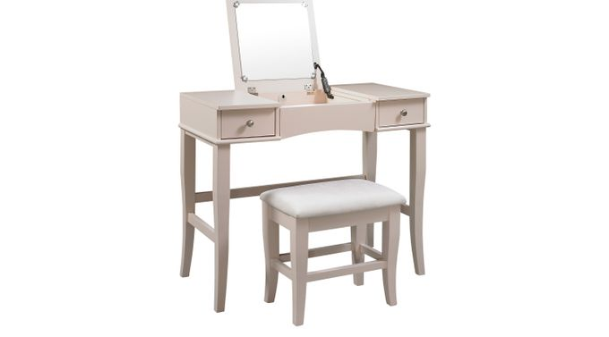 Connie Mae Vanity, Mirror and Stool Set - Transitional
