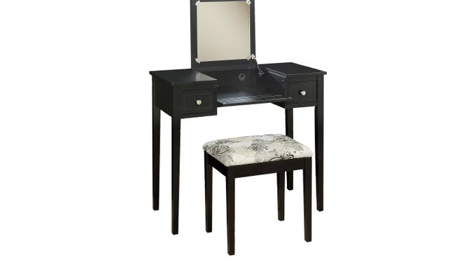 Eden Falls Black Vanity, Mirror and Stool Set - Traditional