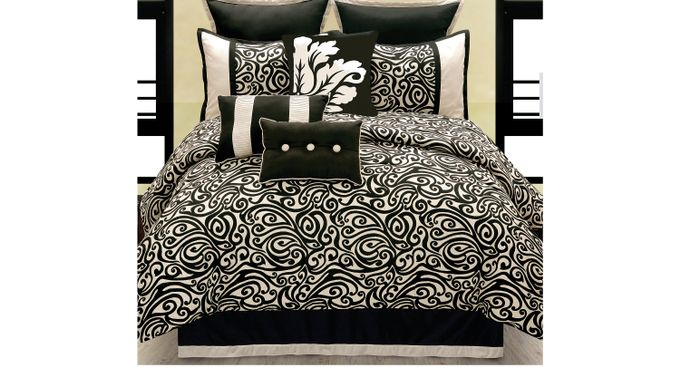 Carrie Black 10 Pc King Comforter Set Polyester
