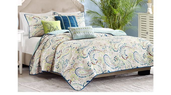 Tamira Blue 6 Pc King Coverlet Set