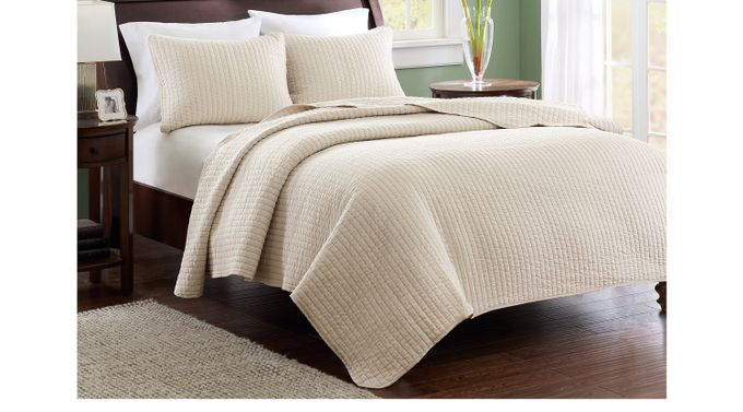 Keaton Light Khaki 3 Pc Full/Queen Coverlet Set