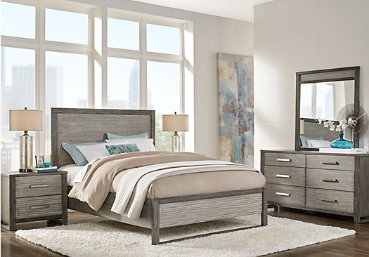 rooms to go king size bedroom sets abbott gray 7 pc king panel bedroom contemporary 21142