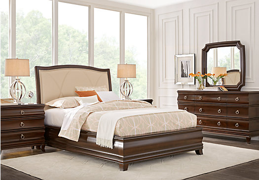 Alexi Cherry 7 Pc King Panel Bedroom With Cream Inset