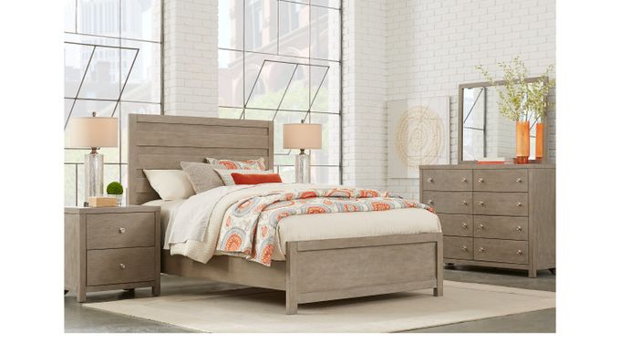 Barringer Place Gray 7 Pc King Panel Bedroom - Contemporary