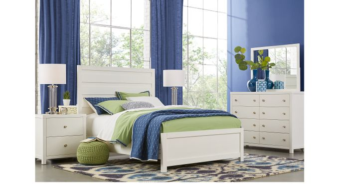 Barringer Place White 7 Pc King Panel Bedroom - Contemporary