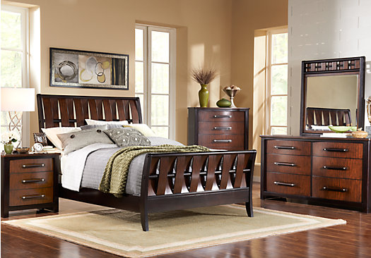 Bedford Heights Cherry 5 Pc Queen Sleigh Bedroom