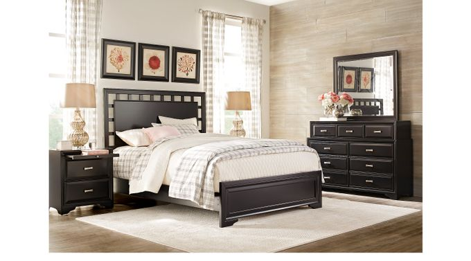 Belcourt Black 7 Pc King Lattice Bedroom - Panel - Contemporary