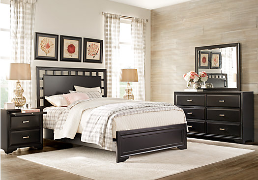 Attractive Belcourt Black 7 Pc King Lattice Bedroom