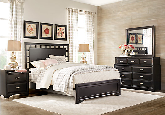 Belcourt Black 7 Pc Queen Lattice Bedroom