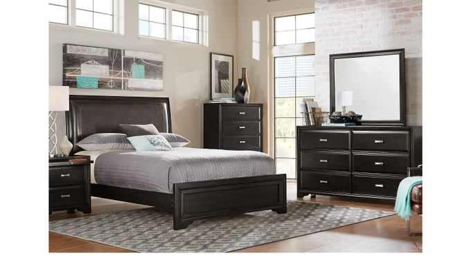 Belcourt Black 7 Pc King Upholstered Bedroom - Contemporary