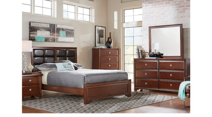 Belcourt Cherry 5 Pc King Upholstered Bedroom - Panel - Contemporary