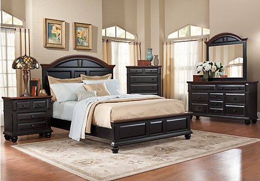 Berkshire Lake Black 5 Pc King Panel Bedroom Casual