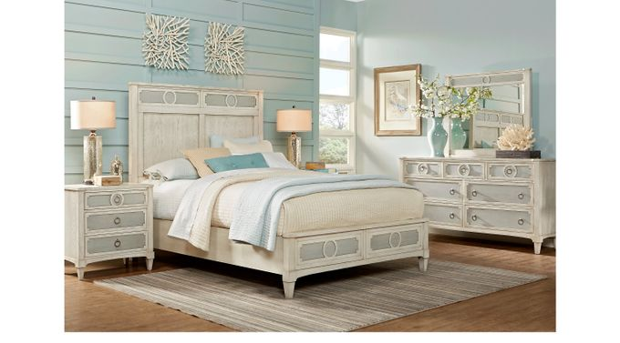 Harlowe Ivory (off-white)  7 Pc King Bedroom - Panel - Contemporary