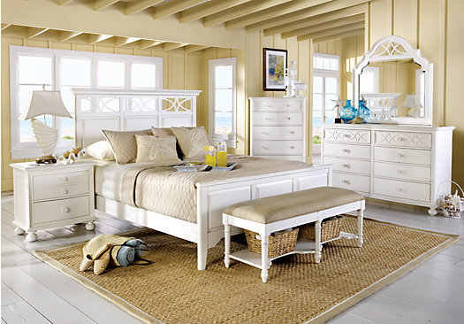 Seaside White 5 Pc King Panel Bedroom (Lattice Dresser) - Traditional