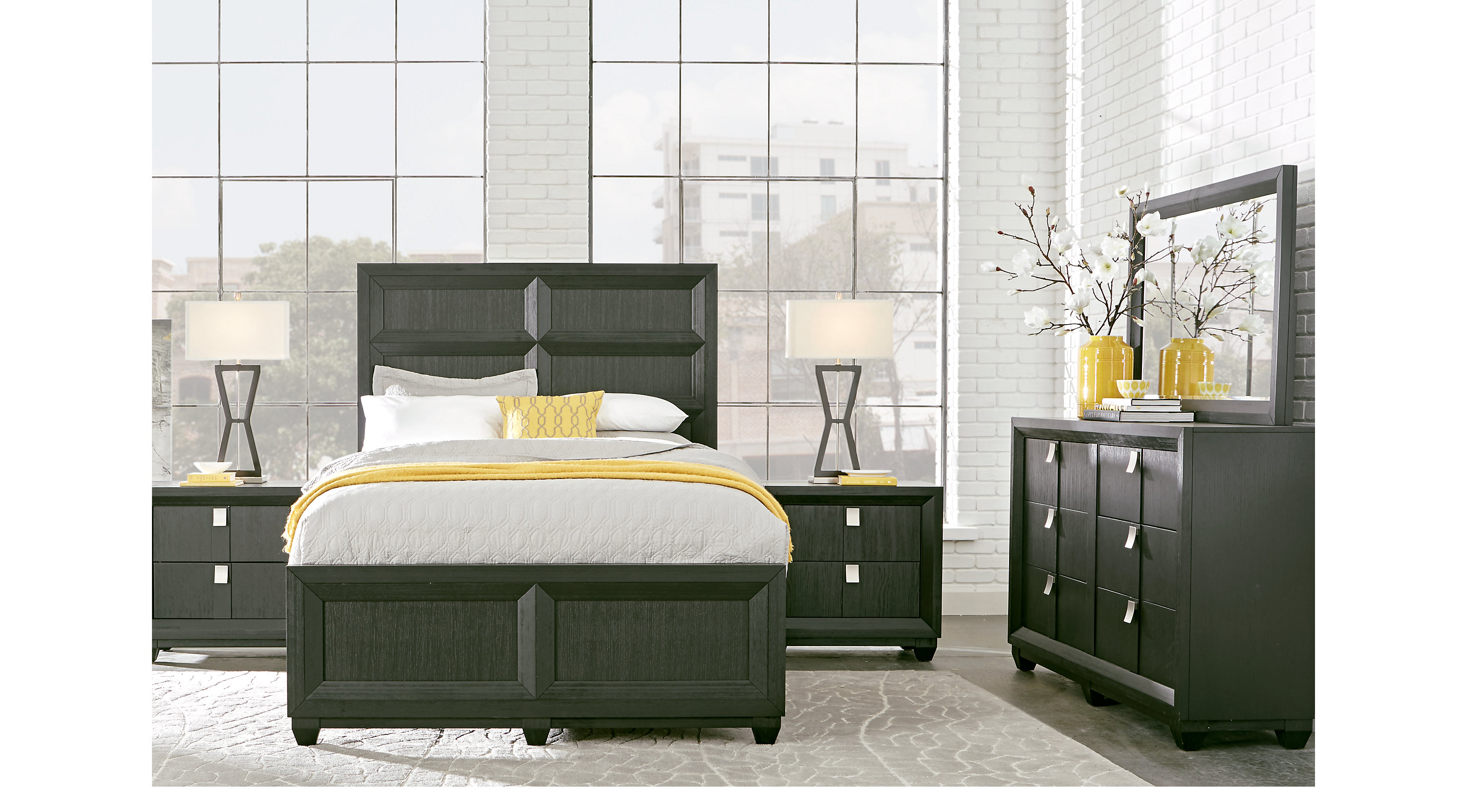 Reynoldstown Charcoal Dark Gray 5 Pc King Panel Bedroom Contemporary