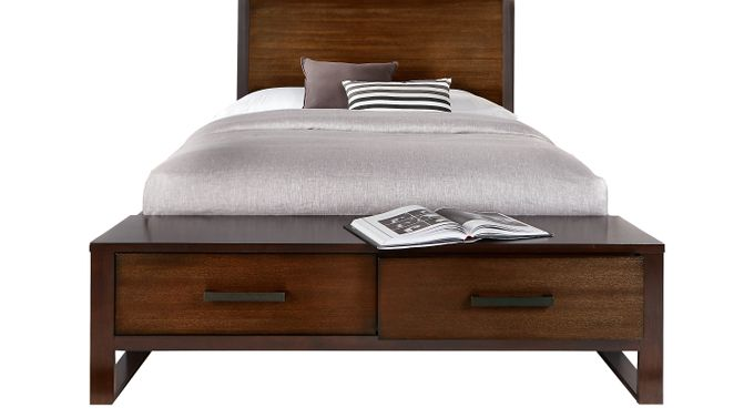 Abbott Hazelnut 3 Pc King Panel Bed with Storage - Contemporary