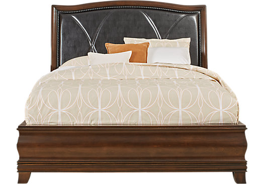 Alexi Cherry 3 Pc King Bed with Chocolate Inset - Panel - Transitional