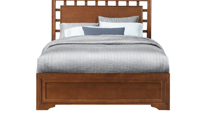 Belcourt Cherry 3 Pc King Lattice Bed - Panel - Contemporary