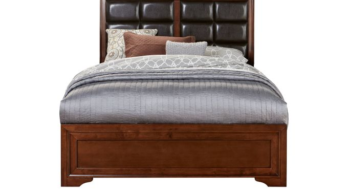 Belcourt Cherry 3 Pc King Upholstered Panel Bed - Contemporary