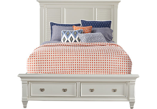 Belmar White 3 Pc King Panel Bed With Storage Traditional