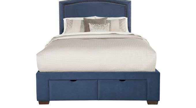 Loden Navy 3 Pc King Upholstered Bed with 2 Drawer Storage - Contemporary