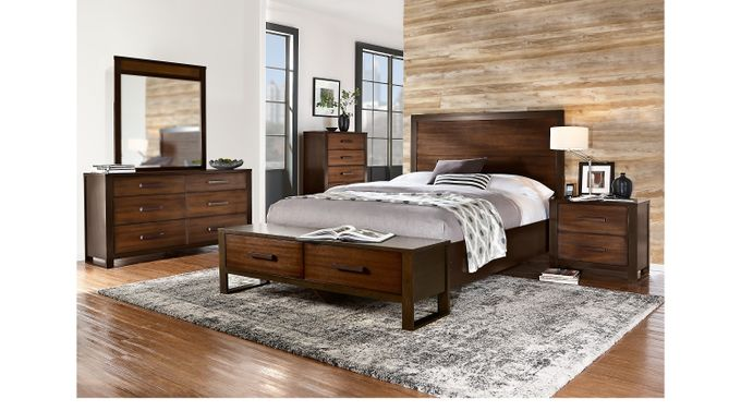 Abbott Hazelnut 5 Pc Queen Panel Bedroom with Storage - Contemporary